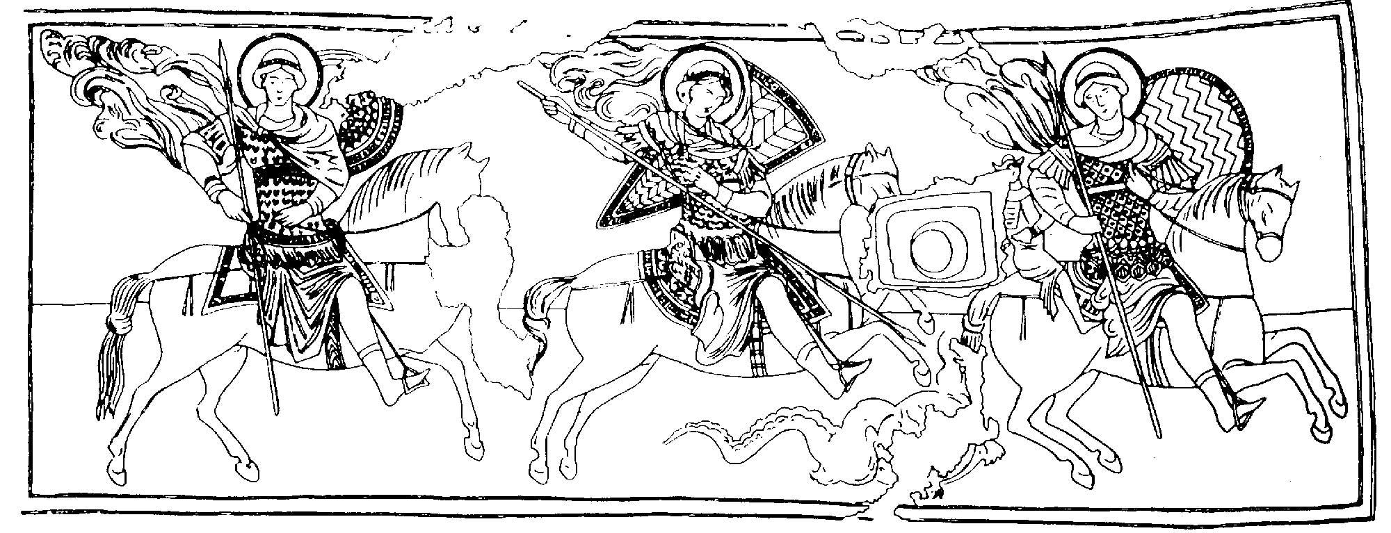 Three images of the Warrior Saint on horseback