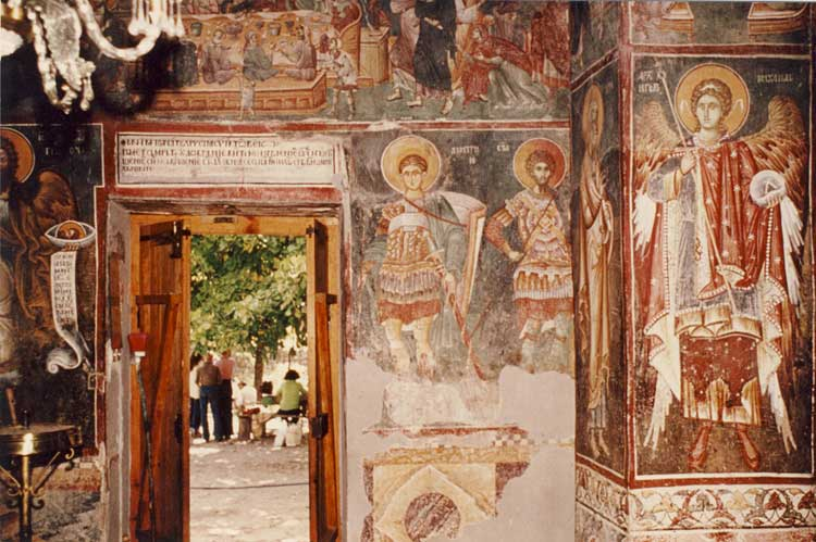 Frescoes of the south portal of the Church of St. Nikita