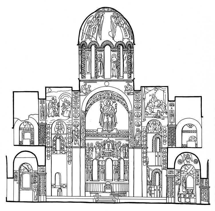 Софии, Киев. XI век. Схема