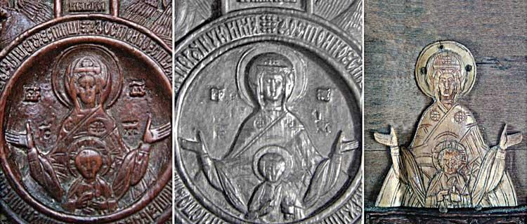 Сопоставление резных изображений Богоматери «Знамение»