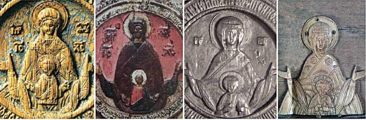 Сопоставление резных изображений Богоматери «Знамение» на иконах ростовских и кирилловских резчиков XVIв.