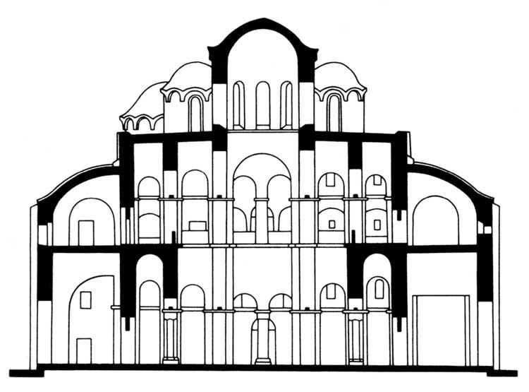 Собор св.Софии, Новгород. 1045–1050. Поперечный разрез