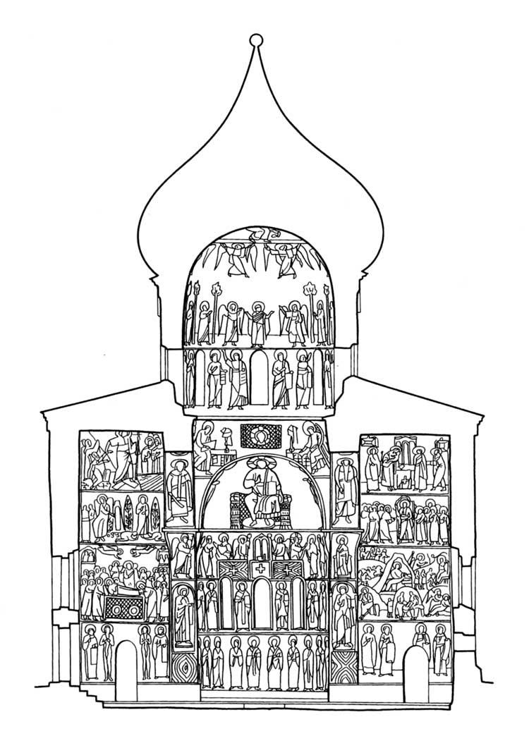 Собор Спаса Преображения в Мирожском монастыре, Псков. Схема расположения фресок. Вид на восток
