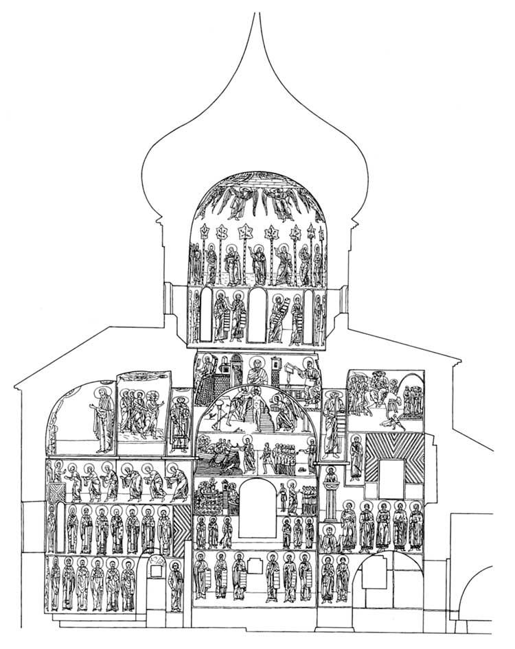Собор Спаса Преображения в Мирожском монастыре, Псков. Схема расположения фресок. Вид на юг