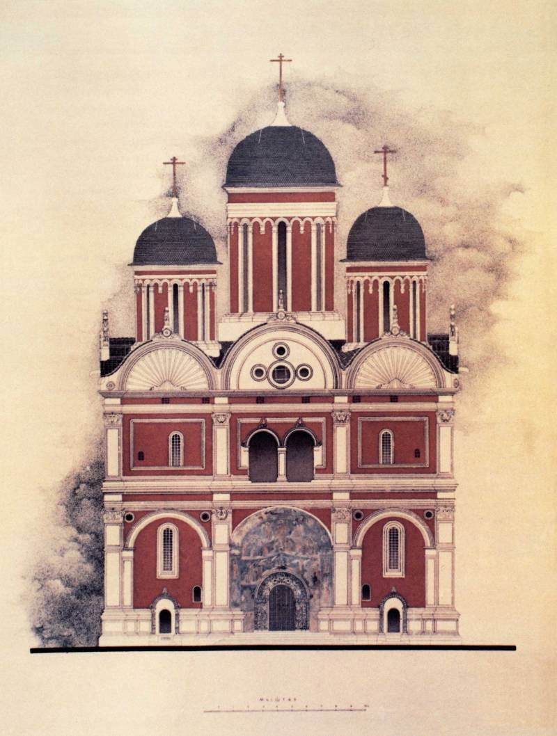 Западный фасад Архангельского собораРеконструкция В.Н.Меркеловой. 1967 г.