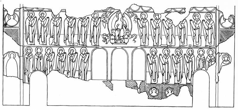 Схема алтарной росписи церкви Благовещения в Аркажах