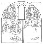 Схема росписи южной стены придела свт. Николая церкви Святой Троицы в Сопочанах