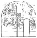 Схема росписи северной стены придела свт. Николая церкви Святой Троицы в Сопочанах