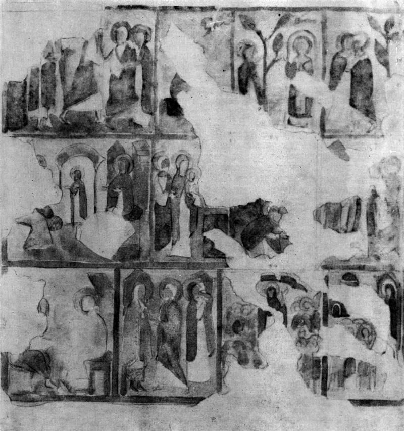 Схема протоевангельского цикла собора Рождества Богородицы Снетогорского монастыря