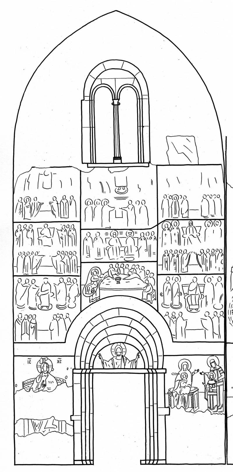Схема росписи восточной стены притвора церкви Святой Троицы в Сопочанах