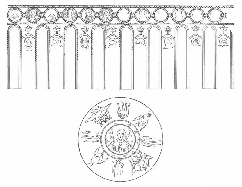 Церковь Покрова на Нерли. Роспись купола (по рисунку Ф.Солнцева)