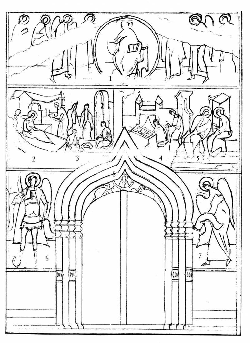 Схема росписи: Западный фасад